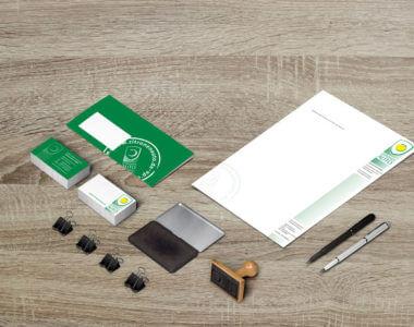 Geschäftspapiere wie Visitenkarten, Briefumschläge, Stempel und mehr von Kreative Werbung